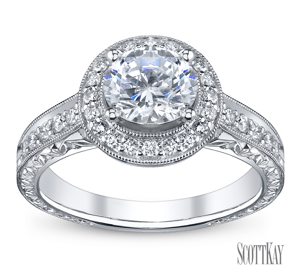 Family Co Jewelers Scott Kay B1602r310: The Halo Diamond Engagement Ring (Beyonce)