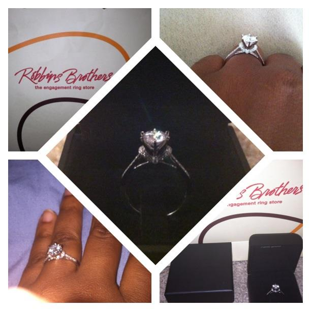 Clarence bought Raven's beautiful diamond engagement ring from Robbins Brothers Houston.