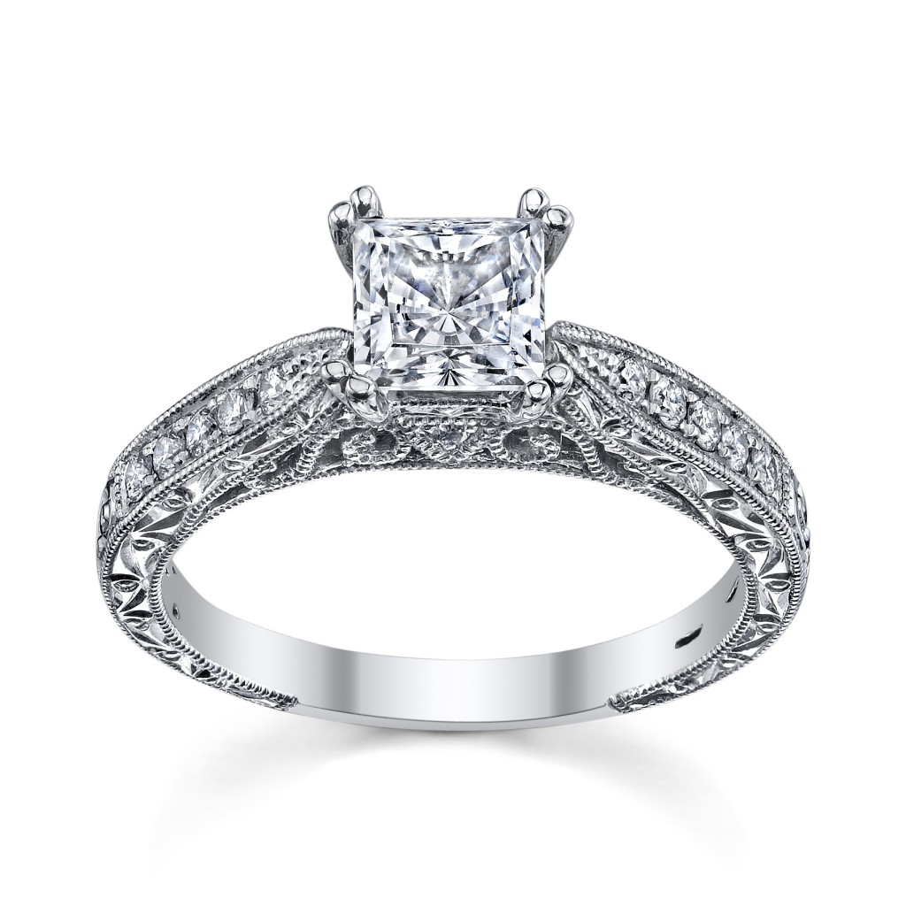beautiful princess cut diamond ring from Kirk Kara's Stella ...