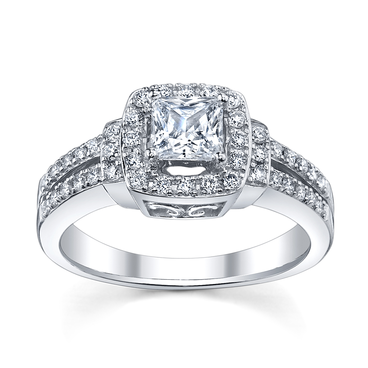 princess cut engagement ring with split shank from wwwrobbinsbrotherscom sku0377934 - Wedding Ring Princess Cut
