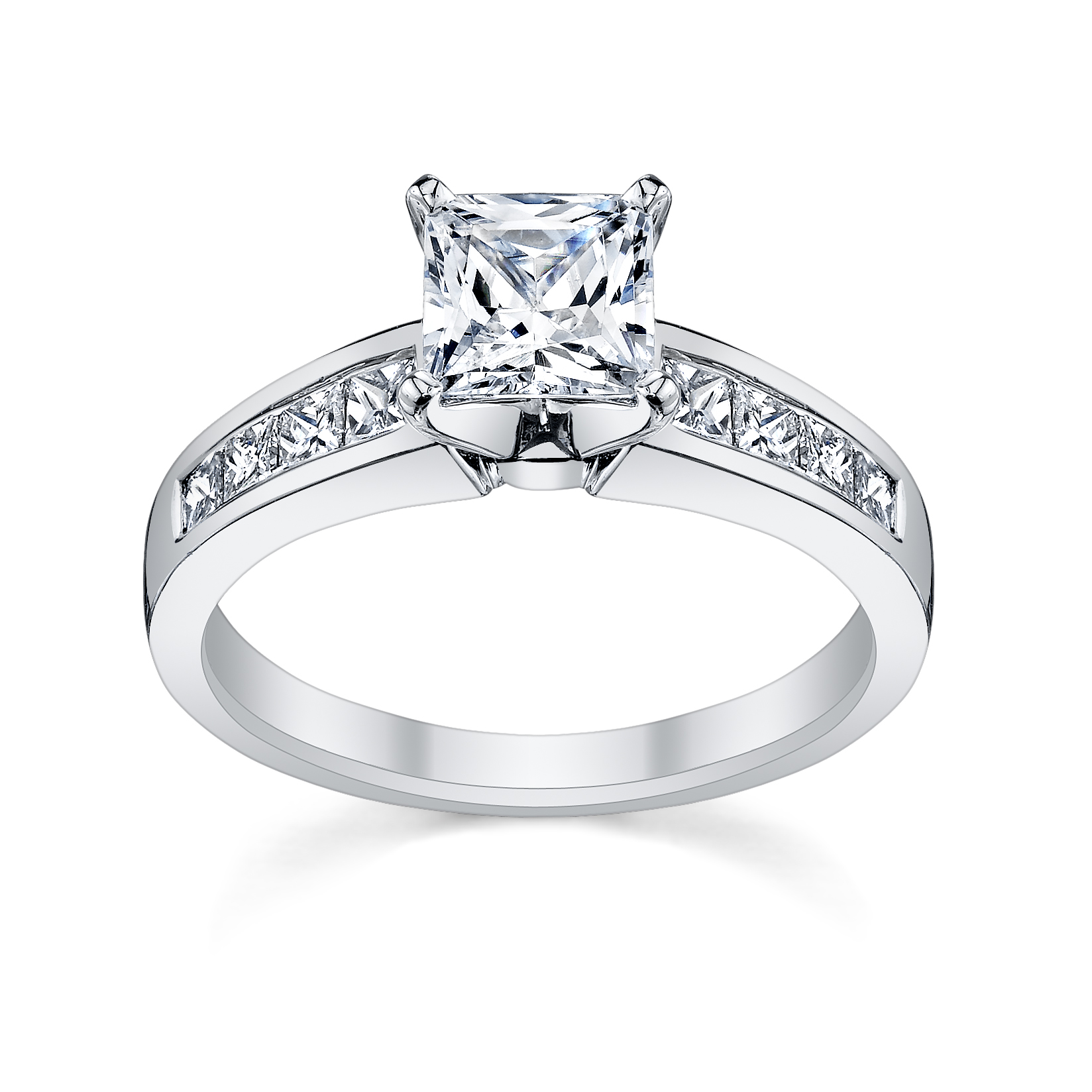 Princess Cut Diamond Engagement Ring with Side Stones from  ...