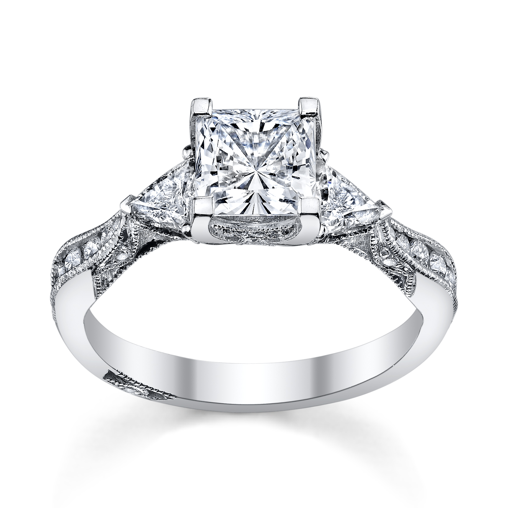 Tacori Princess Cut Engagement Ring With Trillion Cut Stones Available At  Robbinsbrothers