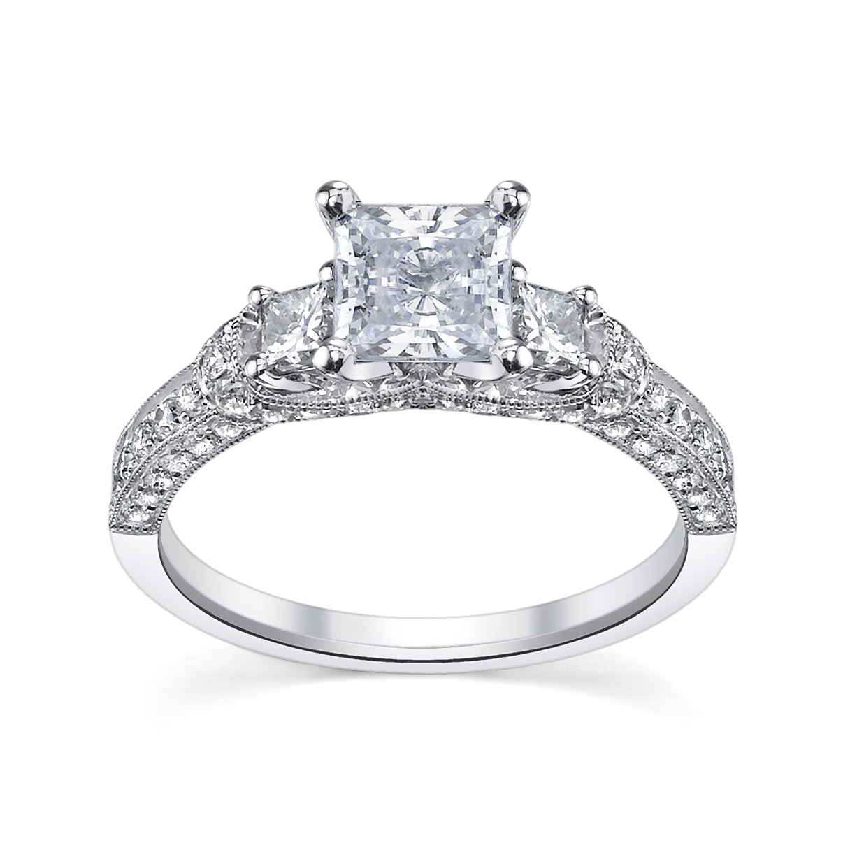 Threestone Princess Engagement Ring With Round Diamonds By Scott Kay,  Available At Www