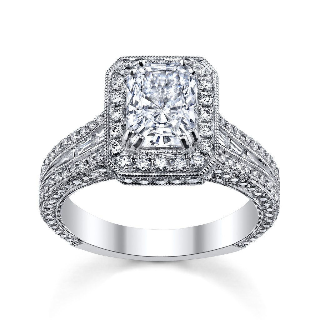 18K White Gold Radiant Diamond Engagement Ring Setting by Kirk Kara (sku 0388195 at www.RobbinsBrothers.com)