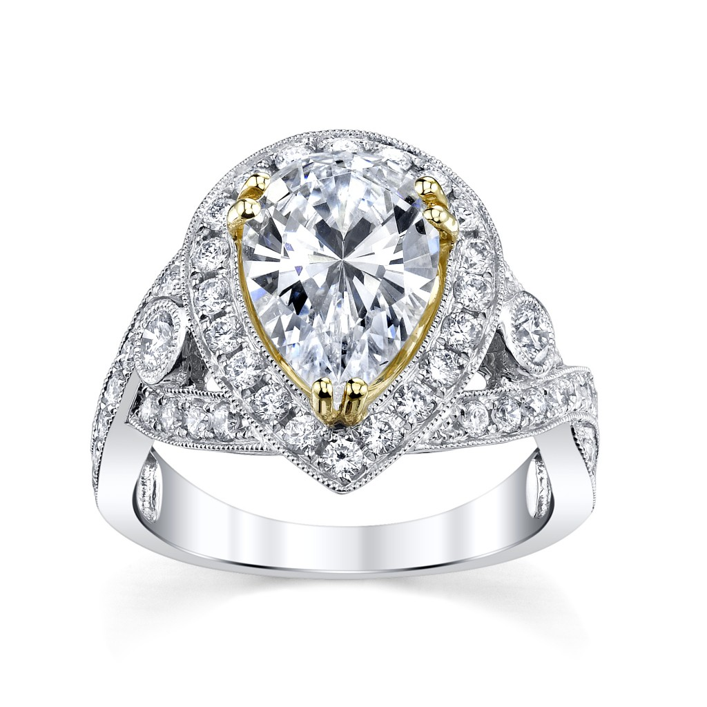 18K White & Yellow Gold Pear-Shaped Diamond Engagement Ring Setting (sku 0389923 at www.RobbinsBrothers.com)