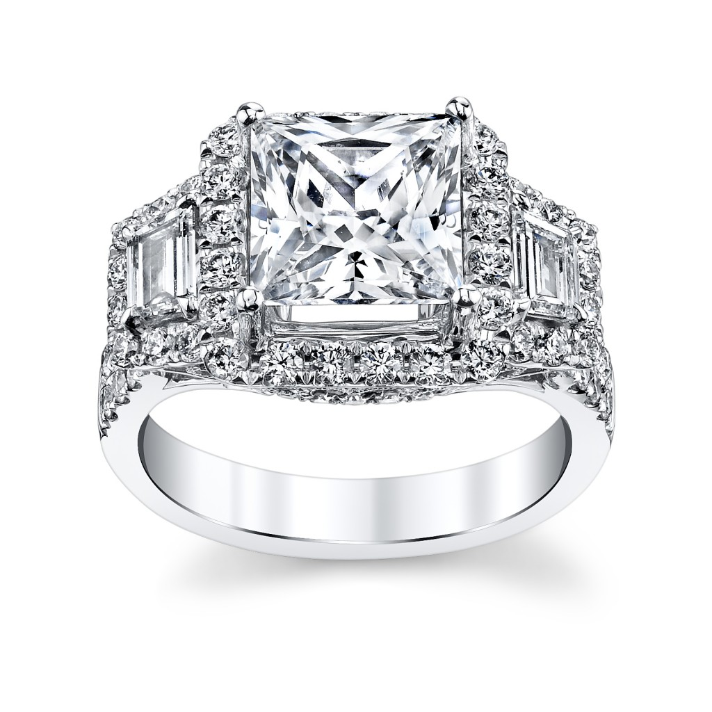 14K White Gold Princess Cut Diamond Engagement Ring Setting--Premier by Divine (sku 0394303 at www.RobbinsBrothers.com)