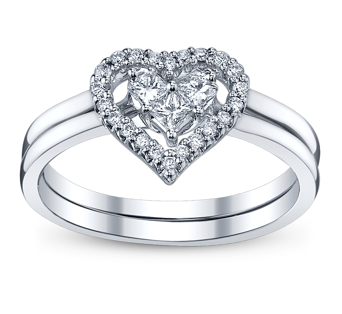 diamond heart wedding ring set from robbins brothers sku 0374029 - Perfect Wedding Ring