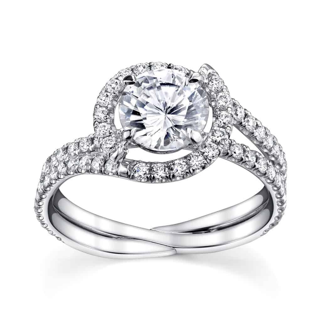 Modern Danhov Halo Swirl Diamond Engagement Ring Setting  Sku 0406393
